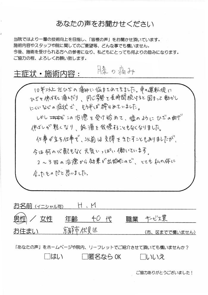 H.M 男性 40代 サービス業 京都市伏見区 膝の痛み